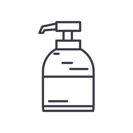 antibactrial gel bottle icon over white background, line style, vector illustration