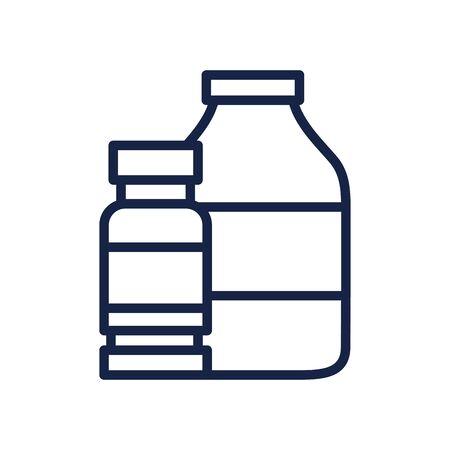 medication bottles icon over white background, line style, vector illustration