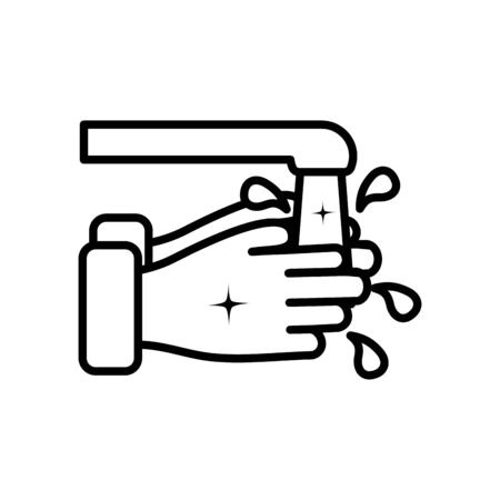 water faucet and hand washing icon over white background, line style, vector illustration