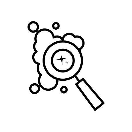 magnifying glass and soapy water icon over white background, line style, vector illustration