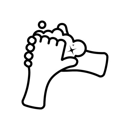 hands washing with sopay water icon over white background, line style, vector illustration