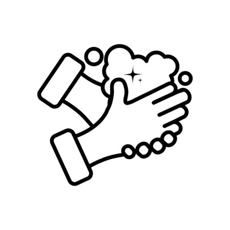 clean hands soapy water over white background, line style, vector illustration