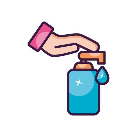hand with soap dispenser bottle icon over white background, line color style, vector illustration Vetores