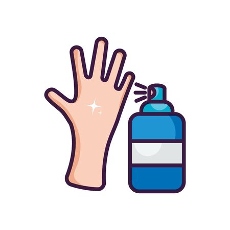 clean hand and antibacterial spray can icon over white background, line color style, vector illustration