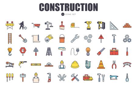 50 fill style icon set design of Construction working maintenance workshop repairing progress labor and industrial theme Vector illustration Vetores