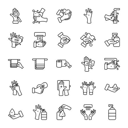 hand dryer and hand hygiene icon set over white background, line style, vector illustration Vectores
