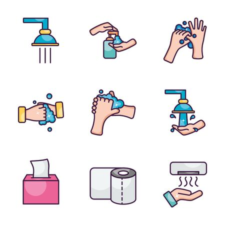 faucets and hand hygiene icon set over white background, line color style, vector illustration Vettoriali
