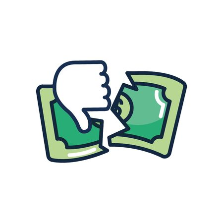 economic recession concept, hand with thumb down and broken money bill over white background, line color style, vector illustration