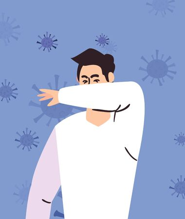 design of prevention the covid 19, man protecting himself with his forearm icon over coronavirus purple background, vector illustration