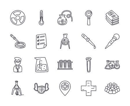 flasks and science icon set over white background, line style, vector illustration