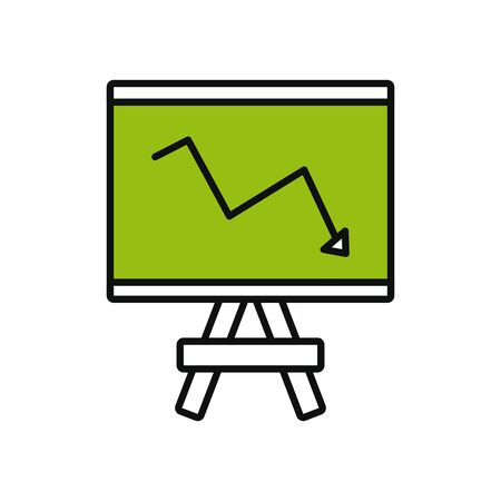 presentation board with financial arrow down over white background, line and fill style, vector illustration