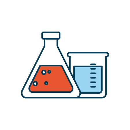 chemical flasks icon over white background, line and fill style, vector illustration