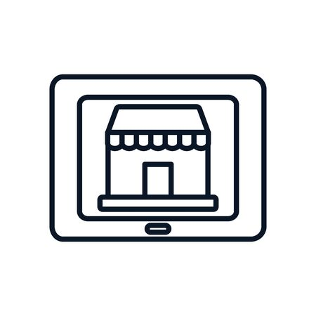 shopping online concept, tablet with store icon on screen over white background, line style, vector illustration
