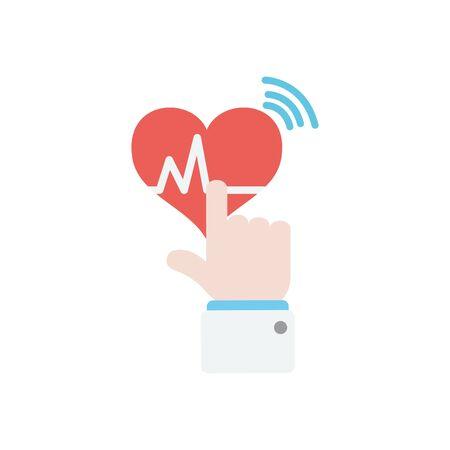 hand touching a cardio heart icon over white background, flat style, vector illustration Ilustração