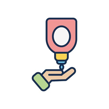 soap bottle and opened hand icon over white background, line fill style, disinfection and cleaning elements, vector illustration