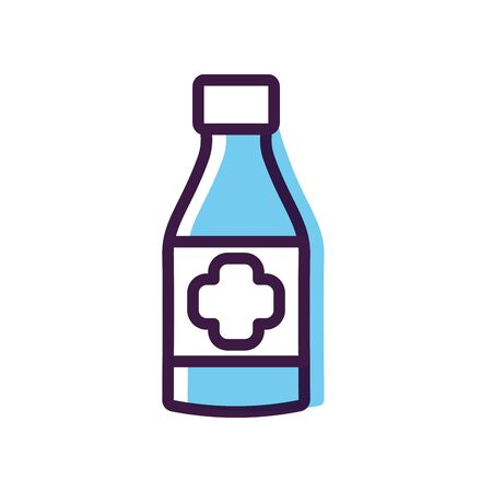 healthcare concept, alcohol bottle icon over white background, line color style, vector illustration