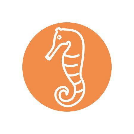 seahorse line block style icon design Sea life ecosystem fauna ocean underwater water nature marine tropical theme Vector illustration