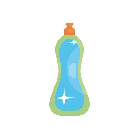 dishwasher soap bottle icon over white background, flat style, illustration