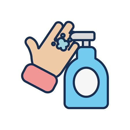 hand and antibacterial gel bottle icon over white background, line fill style, disinfection and cleaning elements, illustration