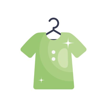 hanger with t-shirt over white background, line fill style, illustration