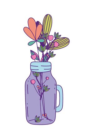 Mason jar with flowers and leaves design, Retro vintage decoration canning party old bouquet and cute theme Vector illustration