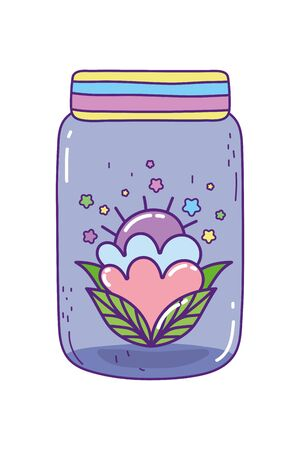 Mason jar with flower design, Retro vintage decoration canning party old bouquet and cute theme Vector illustration