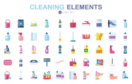 50 flat style icon set design, Cleaning service wash home hygiene equipment domestic interior housework and housekeeping theme Vector illustration 向量圖像