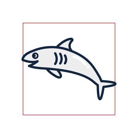 shark fill style icon design Sea life ecosystem fauna ocean underwater water nature marine tropical theme Vector illustration