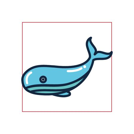 whale fill style icon design Sea life ecosystem fauna ocean underwater water nature marine tropical theme Vector illustration