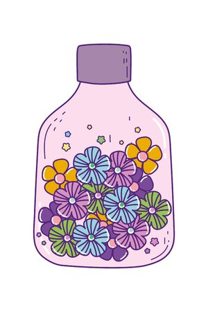 Mason jar with flowers design, Retro vintage decoration canning party old bouquet and cute theme Vector illustration