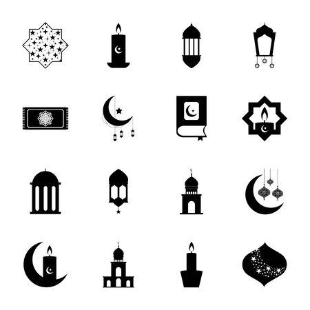 prayer rug and ramadan icon set over white background, line style, vector illustration Vettoriali