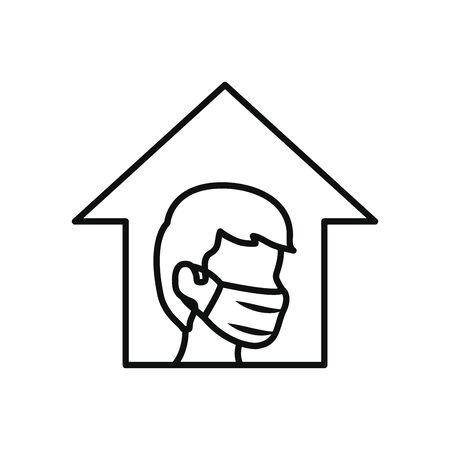 stay home concept, man wearing mouth mask inside the house over white background, line style, vector illustration Ilustração Vetorial