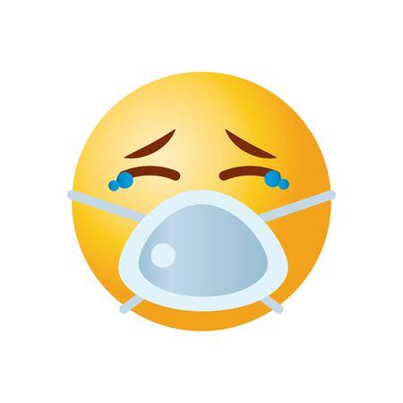 Emoji coronavirus concept, sad emojiwearing mouth mask icon over white background, gradient style, vector illustration