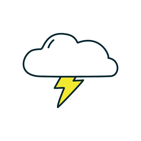 stormy cloud icon over white background, line and fill style icon set, vector illustration