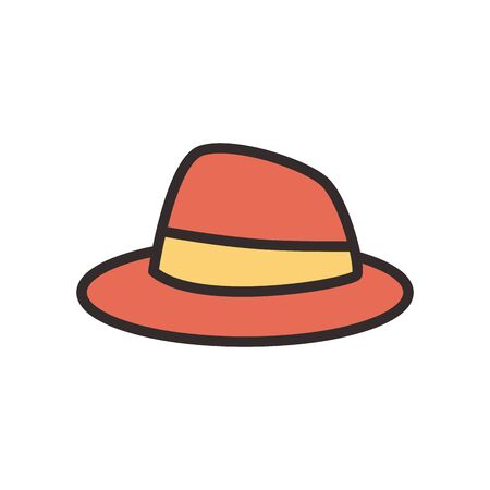 Hat flat style icon design, Cloth costume accessory decoration uniform object season and traditional theme Vector illustration