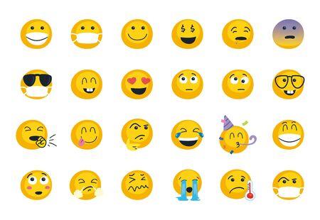 Emojis faces flat style icon set design, Cartoon expression emoticon and social media theme Vector illustration
