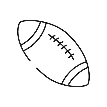 american football ball icon over white background, line style icon set, vector illustration