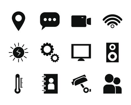 wifi symbol and smartphone app buttons icon set over white background, silhouette style, vector illustration Ilustracje wektorowe