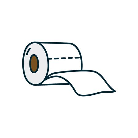 toilet paper icon over white background, line and fill style, vector illustration