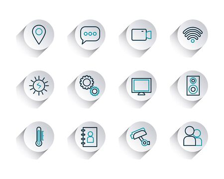 wireless symbol and smartphone app buttons icon set over white background, line gradient style, vector illustration