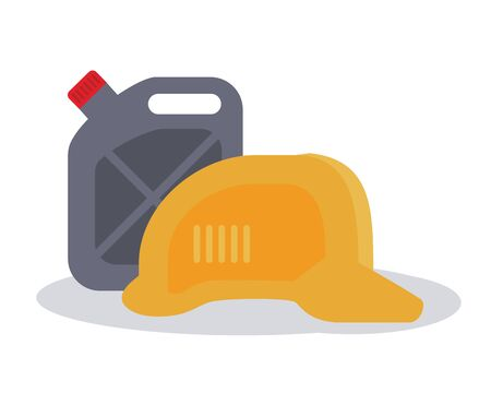 oil gallon and safety helmet icon over white background, colorful design, vector illustration