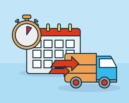 shopping online concept, calendar, cargo truck and chronometer over blue background, colorful design, vector illustration 免版税图像