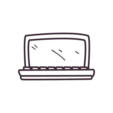 Laptop line style icon design, Digital technology internet web and screen theme illustration