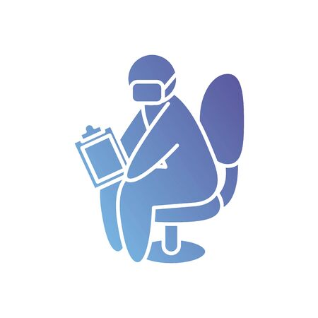 pictogram doctor man sitting with mouth mask and medical report icon over white background, gradient style, vector illustration Banque d'images