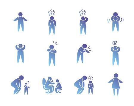 health pictogram persons icon set over white background, gradient style, vector illustration