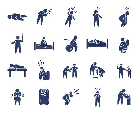 symptoms of disease and pictogram persons icon set over white background, line style, vector illustration