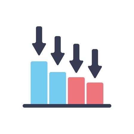 stock market crash concept, graphic bar chart with arrows down icon over white background, flat style, vector illustration
