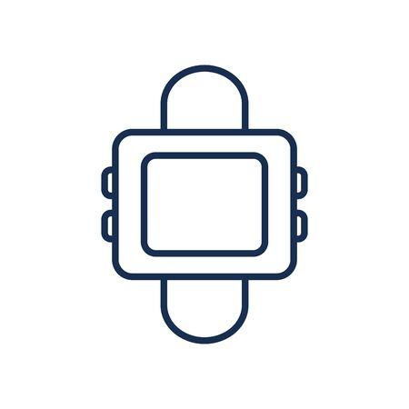 smartwatch line style icon design, Digital technology communication social media internet web and device theme Vector illustration
