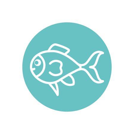 Fish line block style icon design Sea life ecosystem fauna ocean underwater water nature marine tropical theme Vector illustration 版權商用圖片