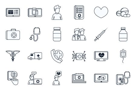line style icon set design of Health online medical care emergency aid exam clinic and patient theme Vector illustration
